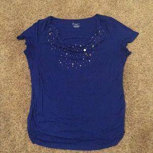 Lane Bryant Blue Jeweled Cowl Neck Tunic Size 16